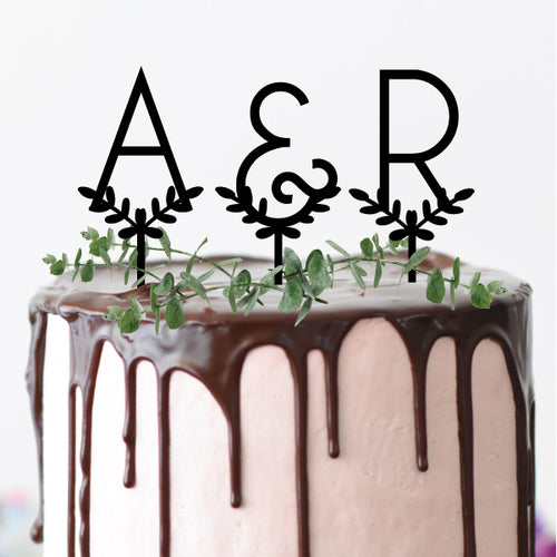 Leafy Initials - Cake Topper