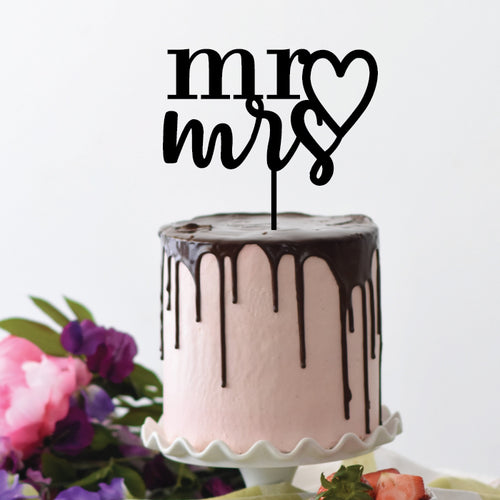 Mr Heart Mrs - Cake Topper