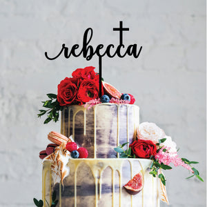 Name Cross - Religious Cake Topper