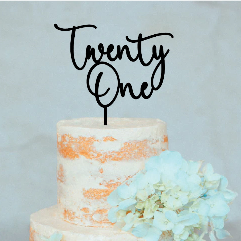 Twenty One Swirl Cake Topper