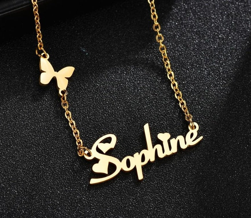 Custom Name Stainless Steel Butterfly & Heart Necklace