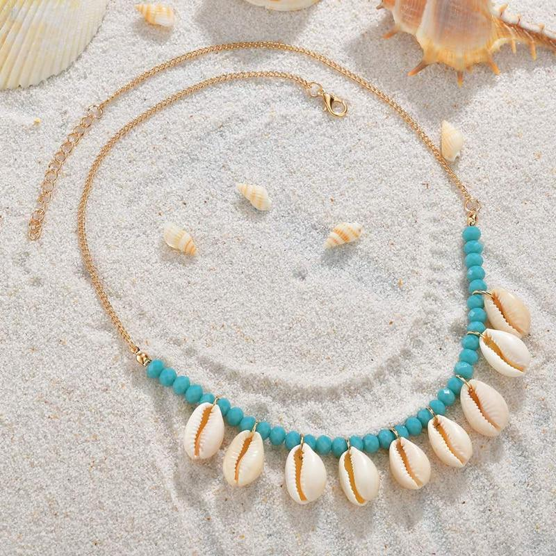 Coloured Bead Puka Shell Necklace