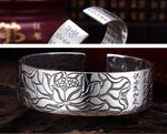 Load image into Gallery viewer, Chinese Scripture Lotus Flower Cuff Bangle