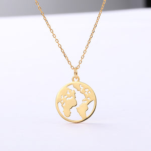 World Map Sterling Silver Necklace