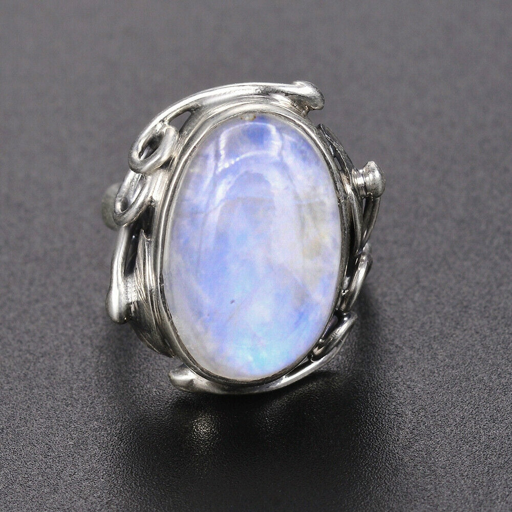 Natural Moonstone Sterling Silver Ring