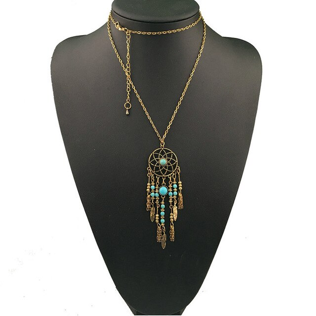 Turquoise Beaded Dreamcatcher Necklace - Boho Girl Jewellery