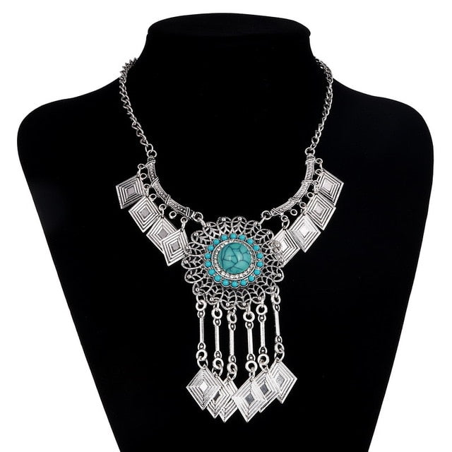 Turquoise Dreamcatcher Diamond Tassel Statement Necklace