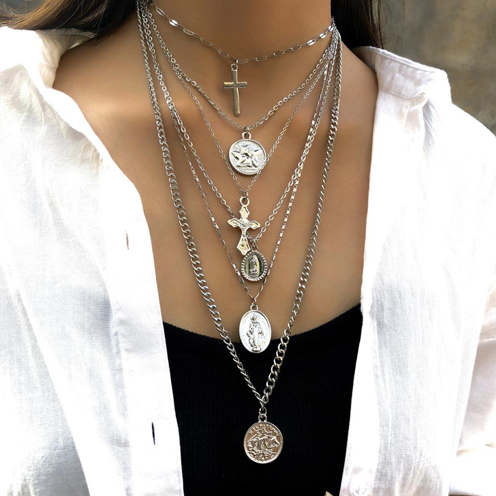 Multi Layered Cross Necklace