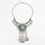 Load image into Gallery viewer, Turquoise Dreamcatcher Diamond Tassel Statement Necklace