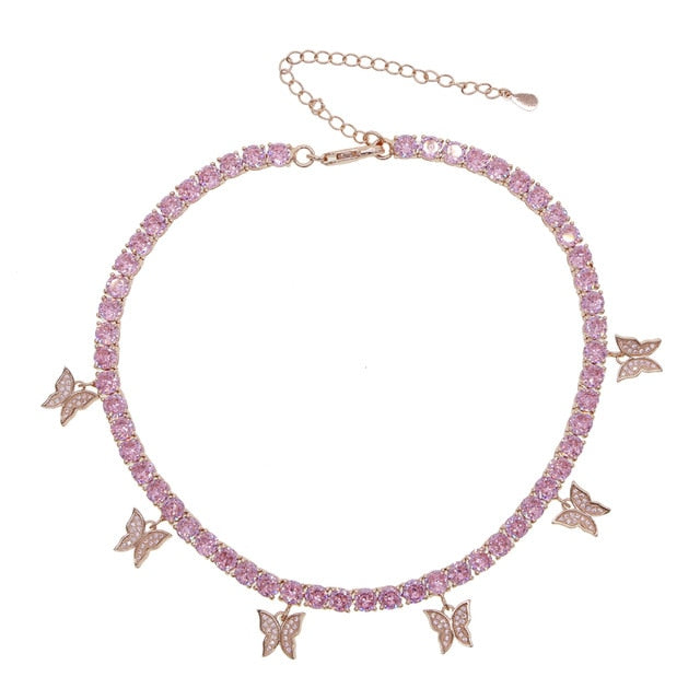 Pink Cubic Zirconia Butterfly Necklace