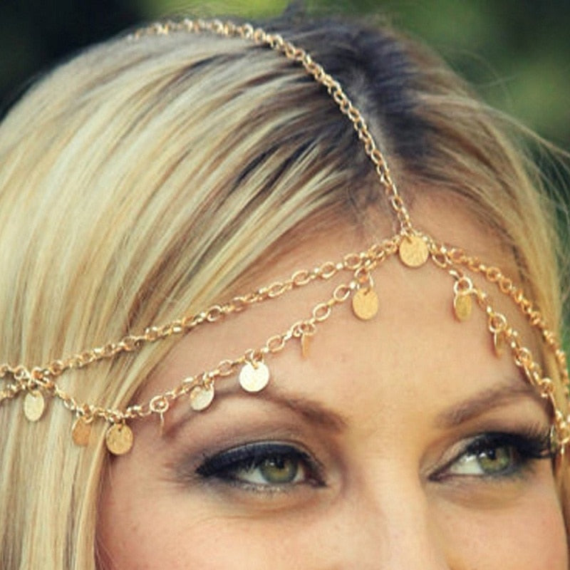Tasselled Disc Head Chain - Boho Girl Jewellery
