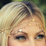 Load image into Gallery viewer, Tasselled Disc Head Chain - Boho Girl Jewellery