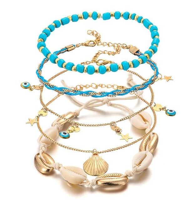 Scallop Shell & Star Anklet Set