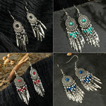 Load image into Gallery viewer, Coloured Bead Dreamcatcher Earrings - Boho Girl Jewellery
