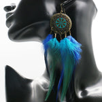 Load image into Gallery viewer, Blue Feathered Dreamcatcher Earrings