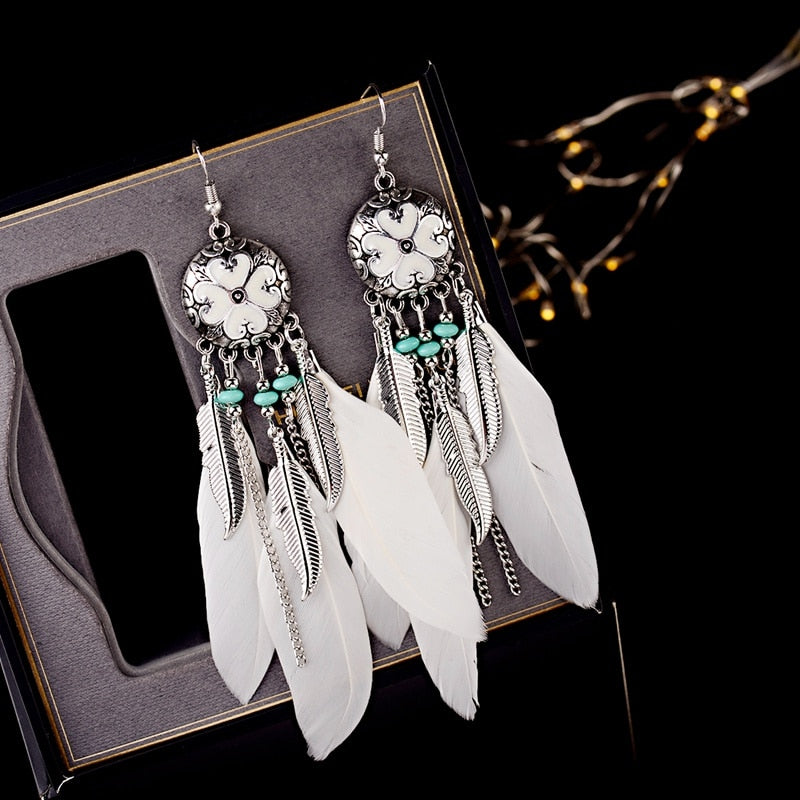 Feather Dreamcatcher Earrings - Boho Girl Jewellery