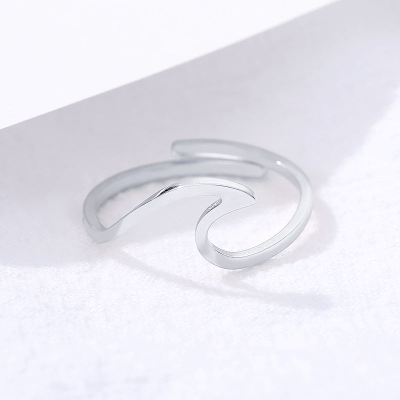 Wave Stainless Steel Adjustable Ring - Boho Girl Jewellery