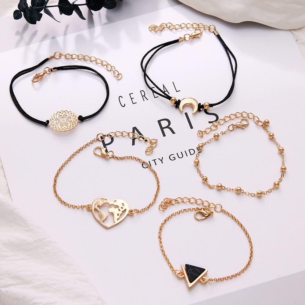Heart Map & Black Triangle Bracelet Set