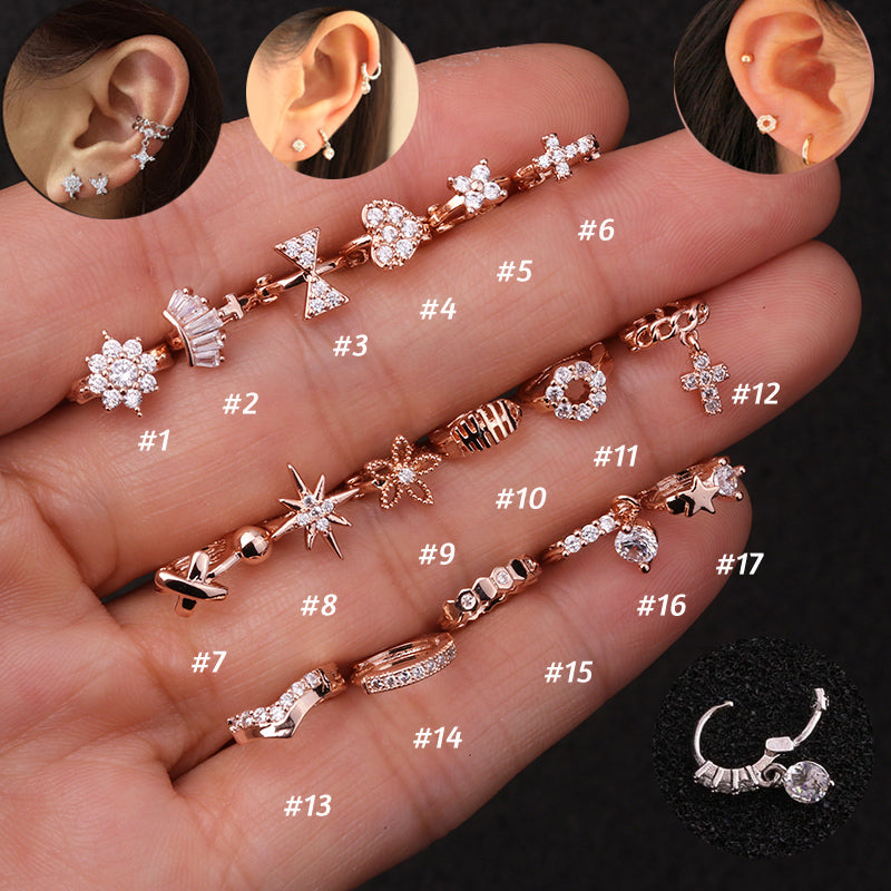 Assortment of Surgical Steel Tragus/Cartilage/Helix Earrings - Boho Girl Jewellery