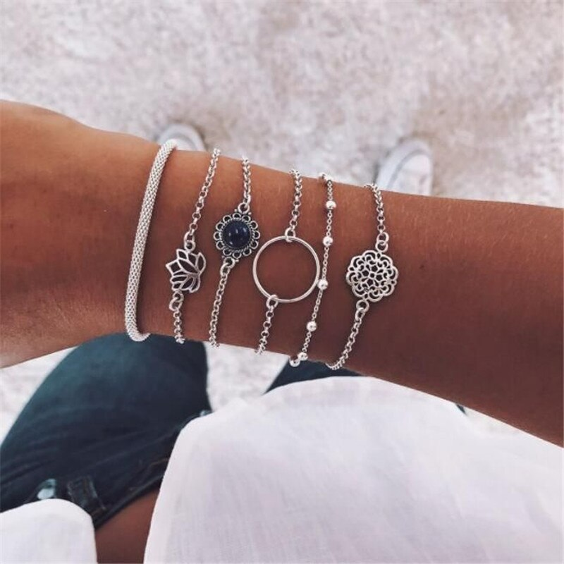 Flower Lotus Bracelet Set - Boho Girl Jewellery