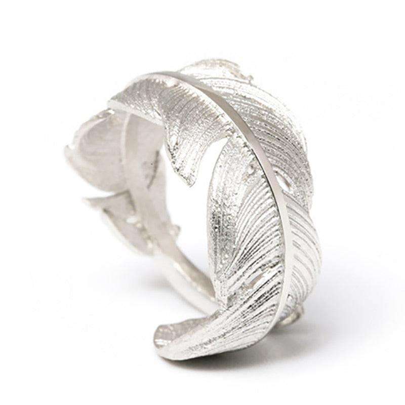 Chunky Feather Sterling Silver Ring