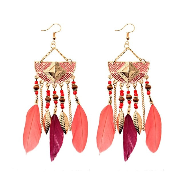 Semi Circle Beaded Feather Earrings