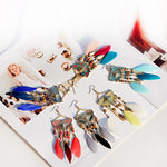 Load image into Gallery viewer, Semi Circle Beaded Feather Earrings