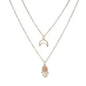 Hamsa Hand & Moon Necklace
