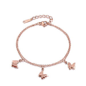 Rose Gold Double Layer Butterfly Charm Stainless Steel Bracelet