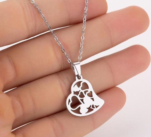 Hollow Hearts Stainless Steel Necklace