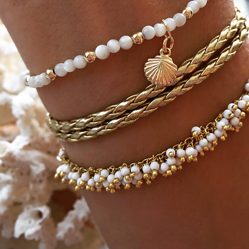 Gold Shell White Beaded Anklet Set