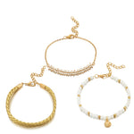 Load image into Gallery viewer, Gold Shell White Beaded Anklet Set