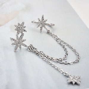 Bright Star Sterling Silver Earring Ear Cuff