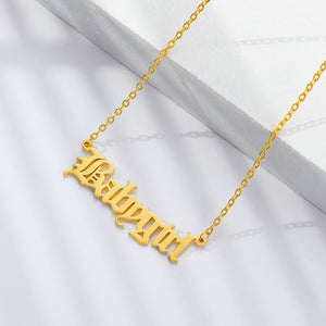 Old Script Babygirl Necklace