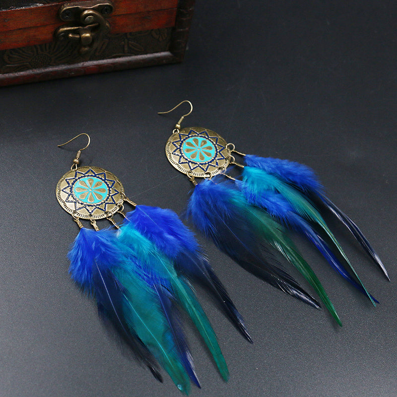 Blue Feathered Dreamcatcher Earrings
