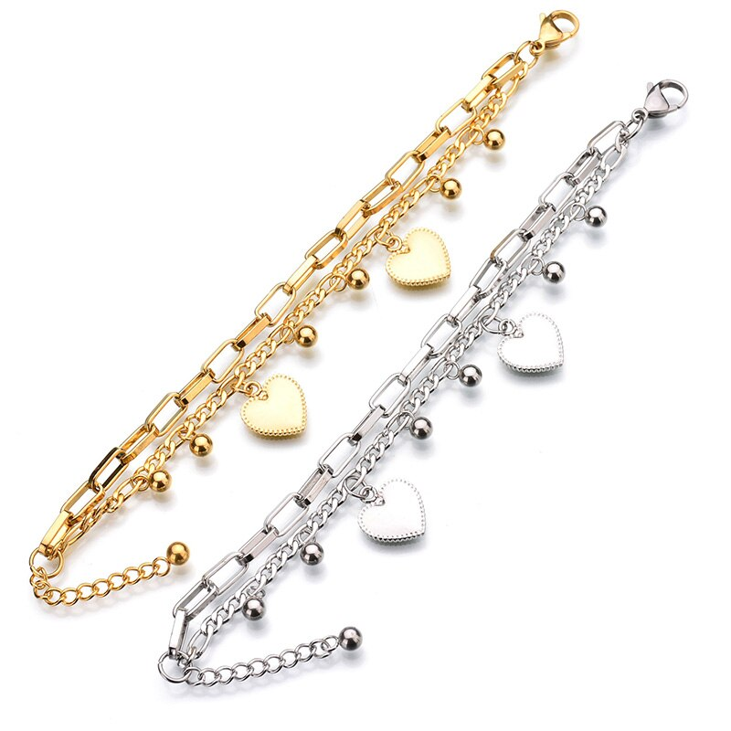 Heart Pendant Double Layer Stainless Steel Bracelet