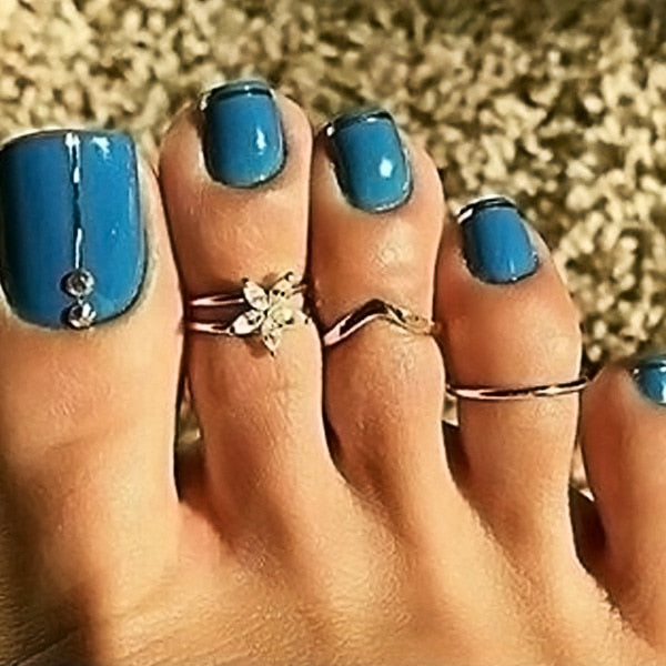 Silver Carved Flower Stainless Steel Adjustable Toe Ring Set - Boho Girl Jewellery