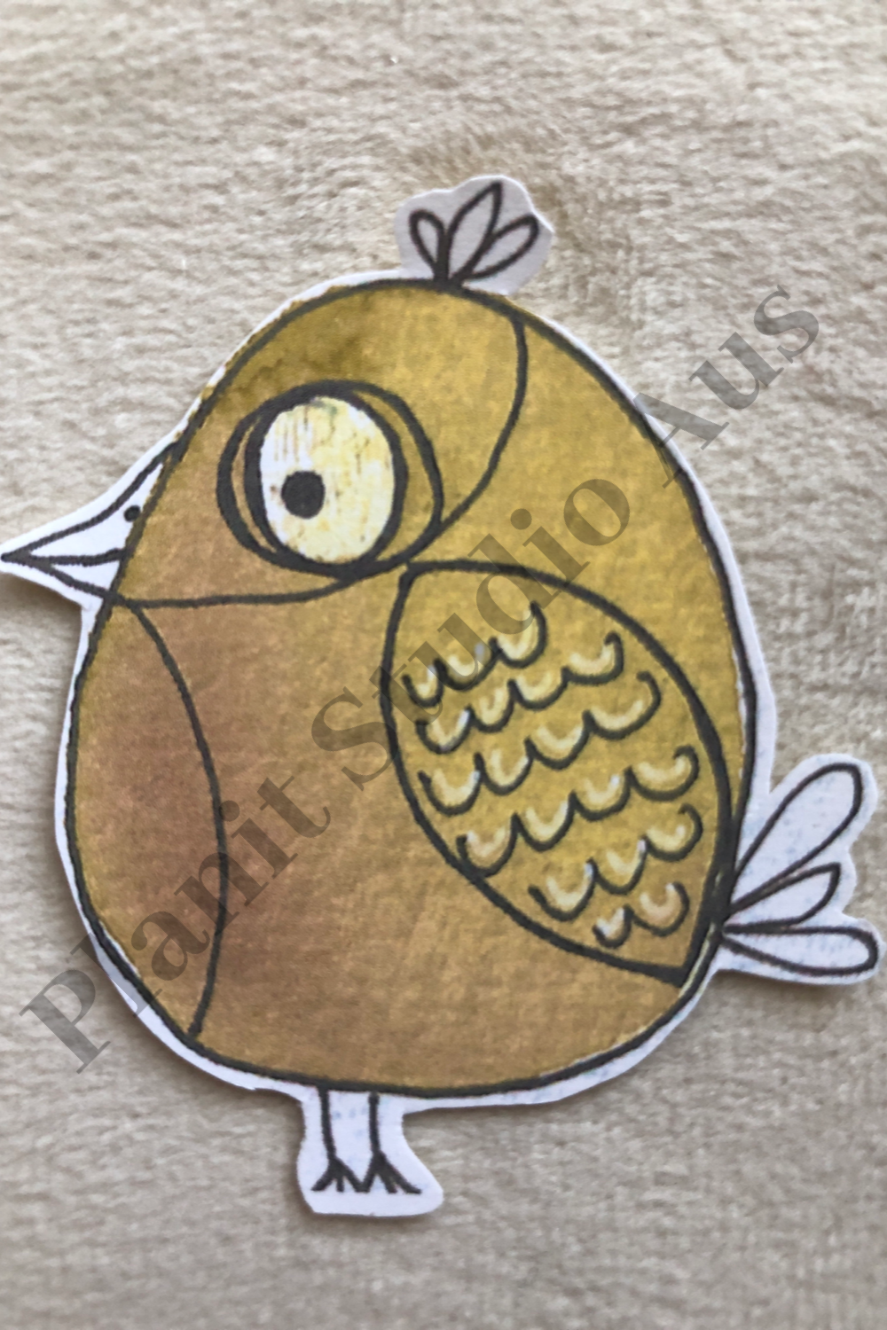 I. Stickers Pre-Cut - Quirky Bird Yellow Transparent