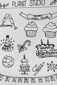 I. Stickers Pre-Cut - Celebrations B&W