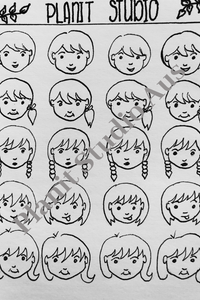 I. Stickers Pre-Cut - Faces B&W