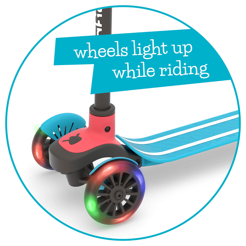 Scotti GLOW - 3-wheel lean-to-steer scooter with light-up wheels and twin-tip deck