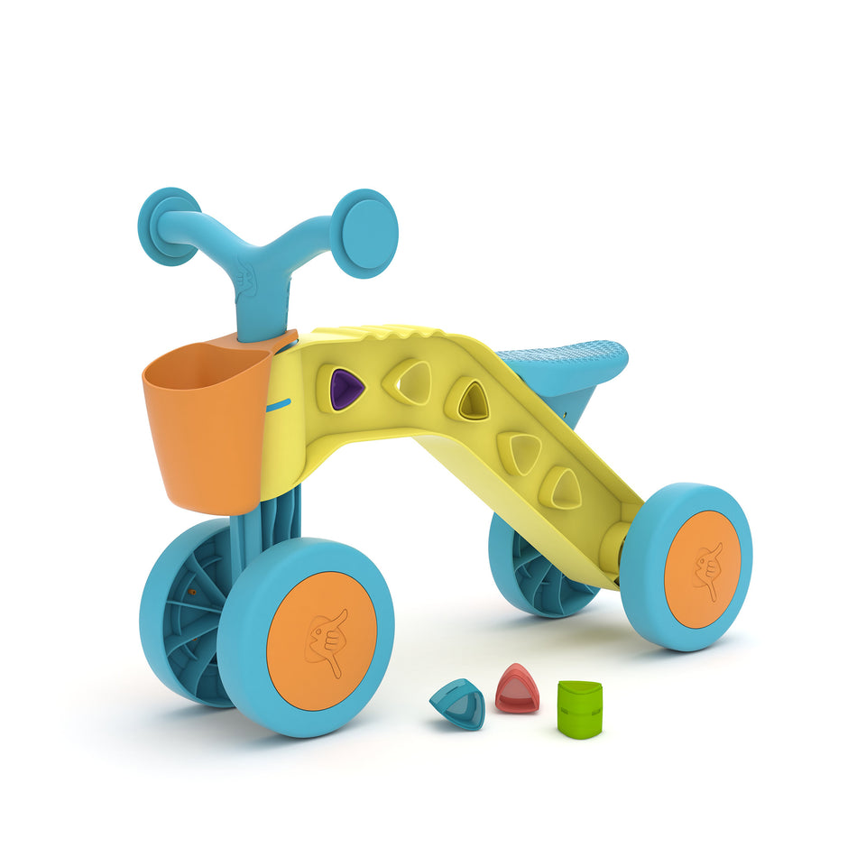 ItsiBitsi Blocks ride-on with storage basket and play blocks that fit in frame