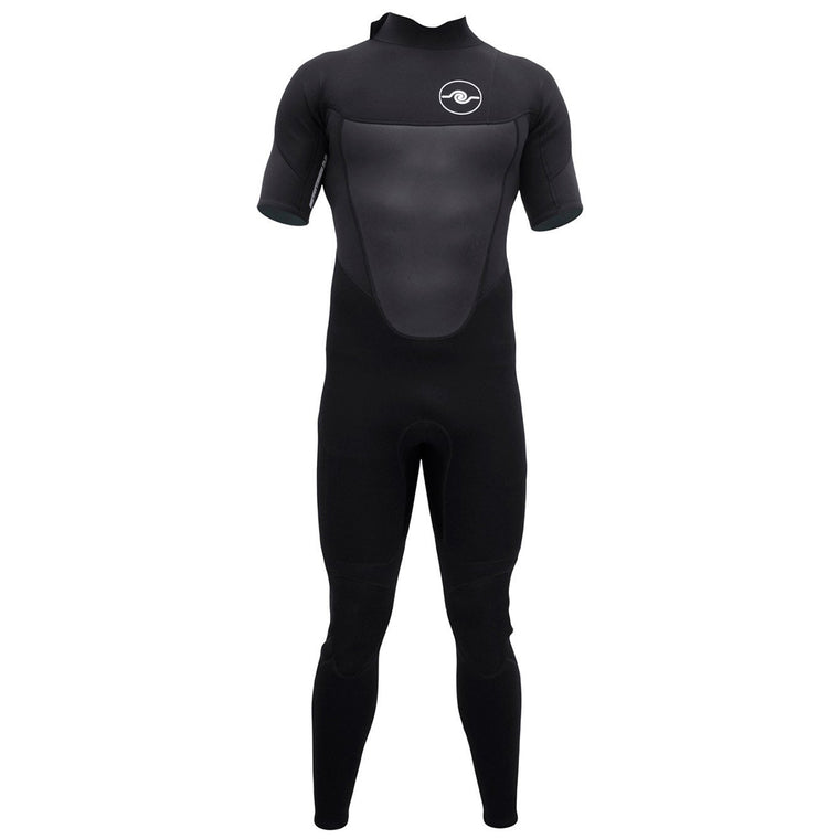 Mens 3/2 Short Sleeve Steamer Wetsuit - Black