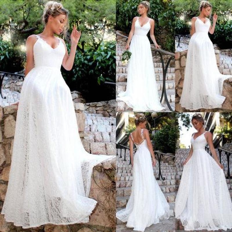 GOTCHA ORABELLE White Lace Long Wedding Bridesmaid Party Dress
