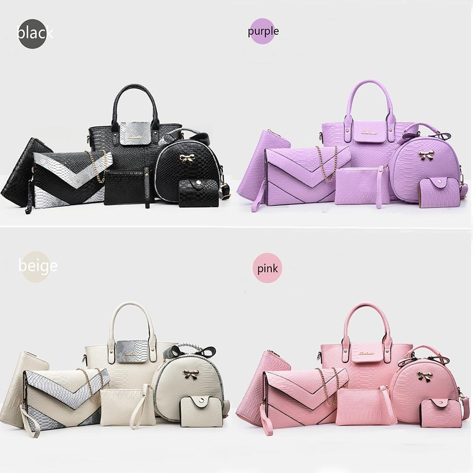 GOTCHA 6pcs Women Handbag Set Fashion Leather Alligator Shoulder Crossbody Bags