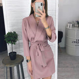 GOTCHA Women Vintage Sashes A-line Party Mini Dress Long Sleeve