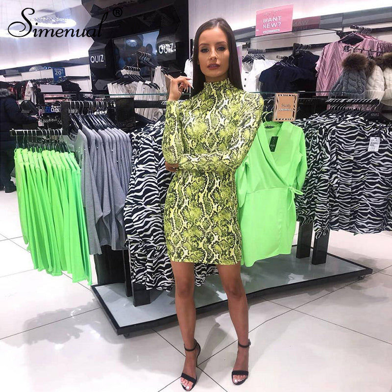 GOTCHA Neon Snake Print Bodycon Mini Dress Women Long Sleeve