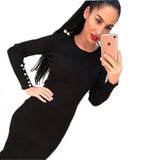 GOTCHA Bodycon Autumn Winter Knitted Midi Dress  Long Sleeve