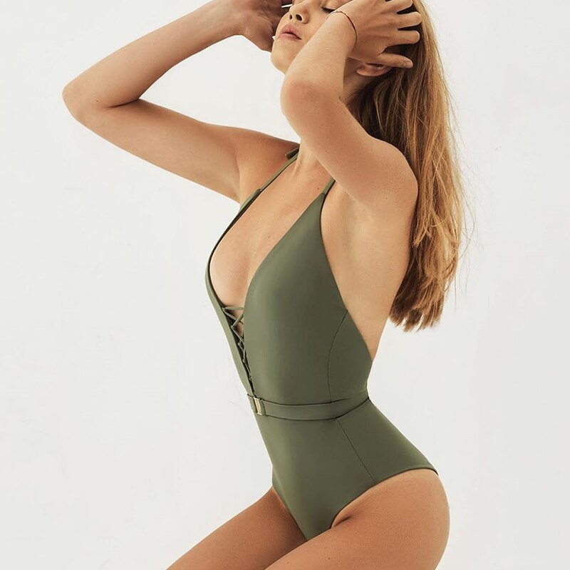 2019 New Sexy Hollow Out One Piece Swimsuit Women Belt Swimwear Bodysuit Swimsuit Push Up Monokini Solid Bathing Suit Beachwear