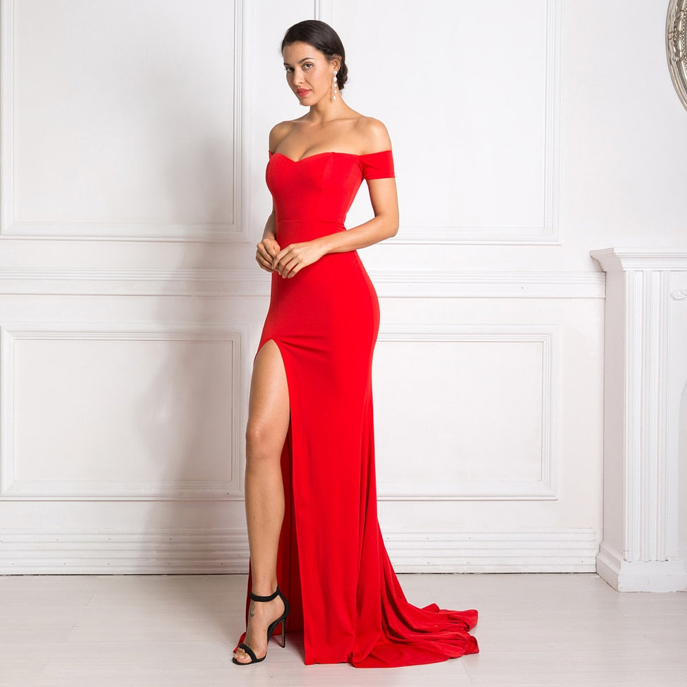 Red Maxi Dress Split Front Off The Shoulder Bodycon Floor Length Dress Elegant Classic Trumpet Mermaid Dress